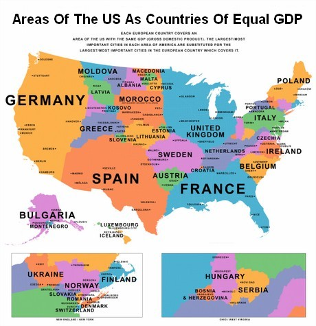 Map Of US States Compared To Other Countries By GDP - Us gdp map